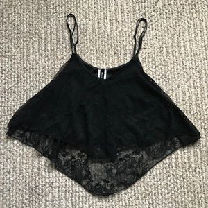 NEW Wet Seal Black Lace Flounce Crop Top Small